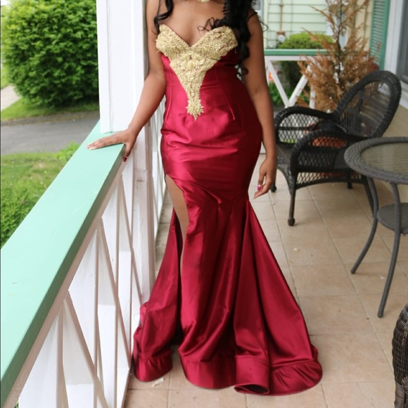 2d30282a2f6a Dresses | Burgundy And Gold Prom Dress | Poshmark